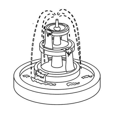 Fountain icon in outline style isolated on white background. Park symbol vector illustration.