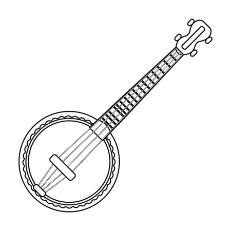 resonator: Banjo icon in outline style isolated on white background. Musical instruments symbol vector illustration