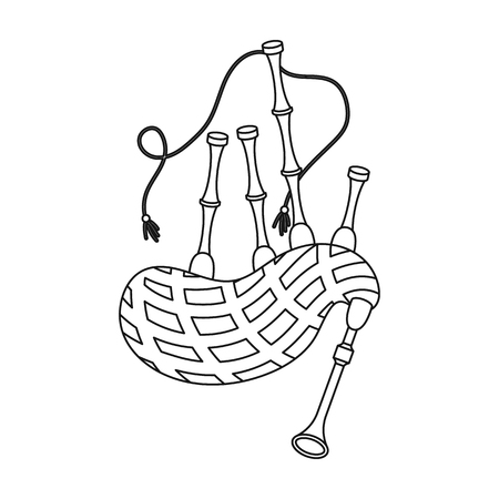 gaita: icono de la gaita en el estilo de contorno aislado en el fondo blanco. Instrumentos musicales ilustración vectorial símbolo