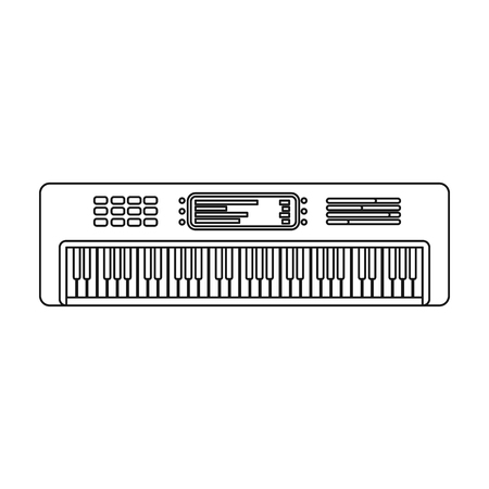 synthesizer: Synthesizer icon in outline style isolated on white background. Musical instruments symbol vector illustration