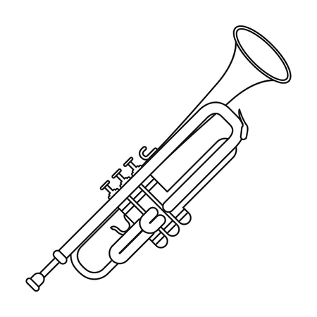 brass wind: Trumpet icon in outline style isolated on white background. Musical instruments symbol vector illustration