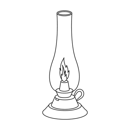 Kerosene lamp icon in outline style isolated on white background. Light source symbol vector illustration