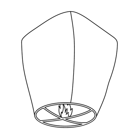 Sky lantern icon in outline style isolated on white background. Light source symbol vector illustration