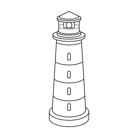 Lighthouse icon in outline style isolated on white background. Light source symbol vector illustration