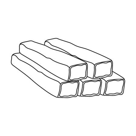 Palitos de cangrejo icono en estilo de contorno aislado en el fondo blanco. ilustración vectorial símbolo carnes Foto de archivo - 65415464