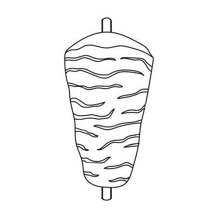 meats: Doner kebab icon in outline style isolated on white background. Meats symbol vector illustration Illustration