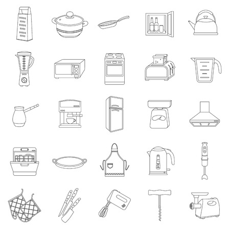 meat  grinder: Kitchen set icons in outline style. Big collection of kitchen vector symbol stock