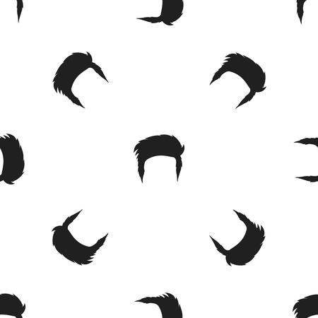 afro hairdo: Mans hairstyle icon in black style isolated on white background. Beard pattern symbol vector illustration.