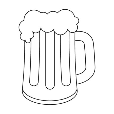 Beer mug icon in outline style isolated on white background. Oktoberfest symbol vector illustration. Illustration