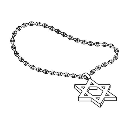 lavaliere: Star of David icon in outline style isolated on white background. Religion symbol vector illustration.