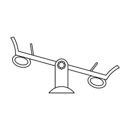 scale up: Seesaw icon in outline style isolated on white background. Play garden symbol vector illustration. Illustration