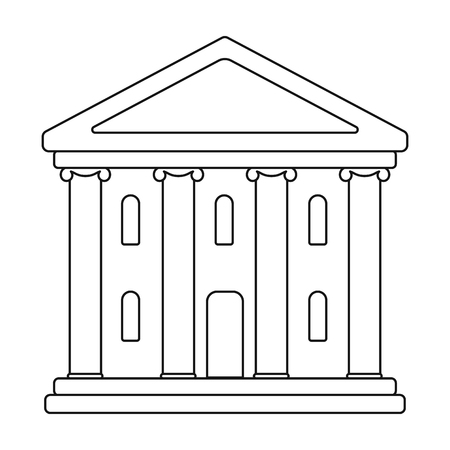 Icône de bâtiment de théâtre dans le style de contour isolé sur fond blanc. Illustration vectorielle de théâtre symbole