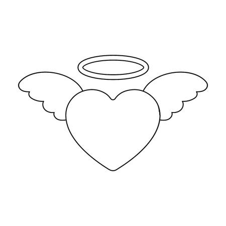 Icono del corazón en el estilo de contorno aislado sobre fondo blanco. Ilustración de vector de símbolo romántico.