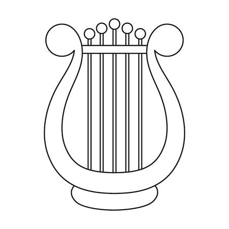 Harp icon in outline style isolated on white background. Theater symbol vector illustration