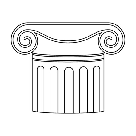 roman pillar: Column icon in outline style isolated on white background. Theater symbol vector illustration