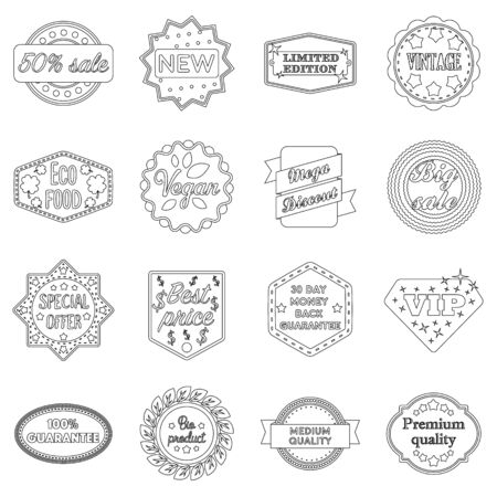 special edition: Label set icons in outline style. Big collection of label vector symbol stock