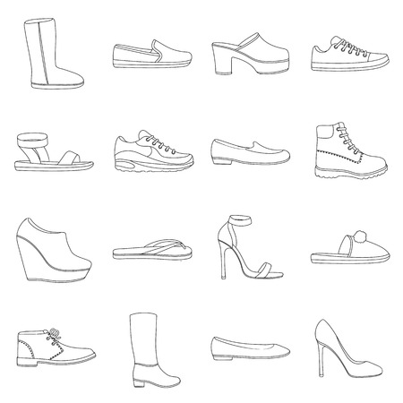 knee boots: Shoes set icons in outline style. Big collection of shoes vector symbol stock