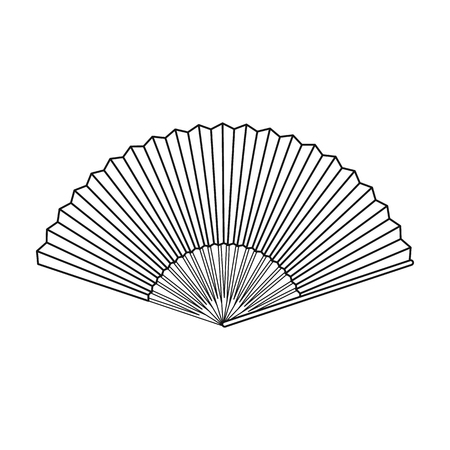 cartoom: Folding fan icon in outline style isolated on white background. Theater symbol vector illustration
