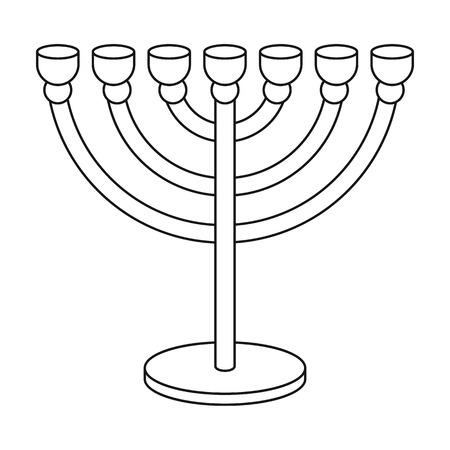 candelabrum: Menorah icon in outline style isolated on white background. Religion symbol vector illustration.