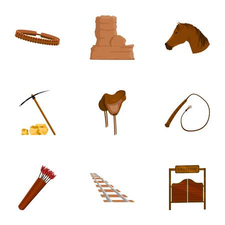 wooden horse: Wild west set icons in cartoon style. Big collection of wild west vector symbol stock Illustration
