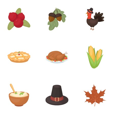 thanksgiving day symbol: Canadian Thanksgiving Day set icons in cartoon style. Big collection of canadian Thanksgiving Day symbol stock
