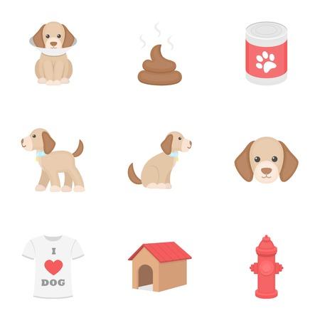 Dog equipment set icons in cartoon style. Big collection dog equipment symbol stock Ilustração
