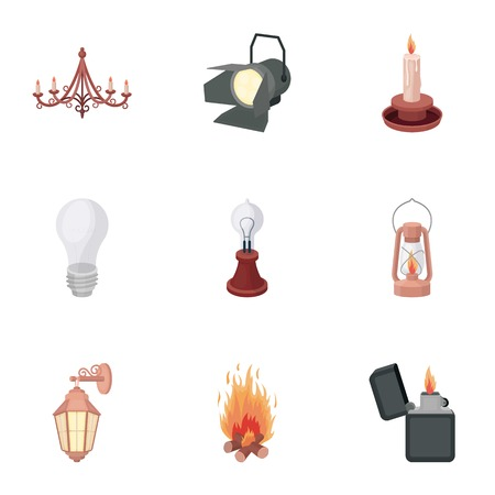 source: Light source set icons in cartoon style. Big collection of light source symbol stock Illustration