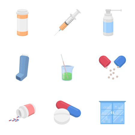 Medicine and hospital set icons in cartoon style. Big collection of medicine and hospital symbol stock