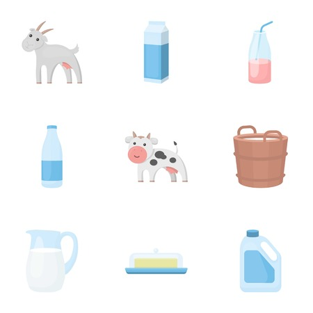 milk pail: Milk set icons in cartoon style. Big collection of milk symbol stock Illustration