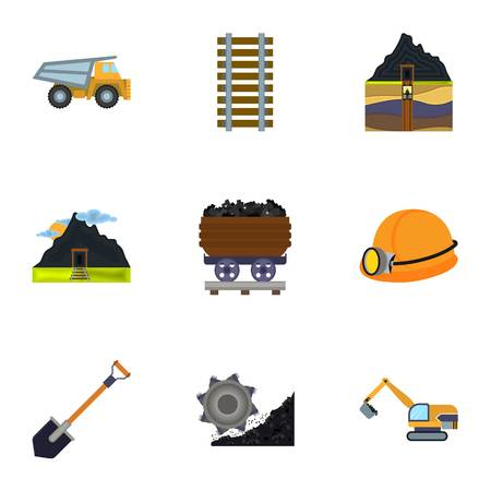 mine: Mine set icons in cartoon style. Big collection of mine symbol stock