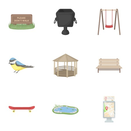 parus: Park set icons in cartoon style. Big collection of park symbol stock Illustration