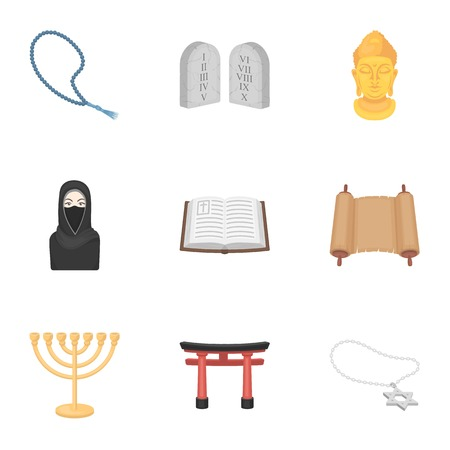 niqab: Religion set icons in cartoon style. Big collection of religion symbol stock