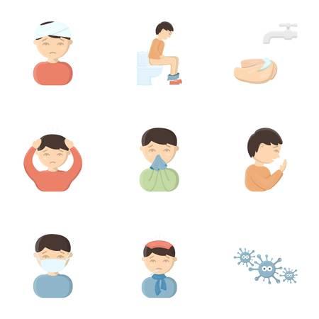 io: Sick set icons in cartoon style. Big collection io sick symbol stock