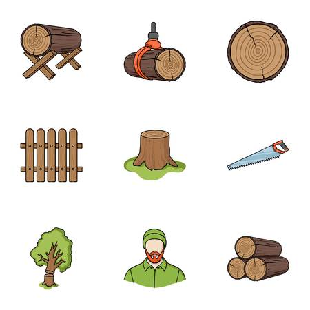 Sawmil and timber set icons in cartoon style. Big collection of sawmill and timber symbol stock