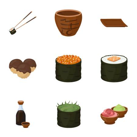 Sushi set icons in cartoon style. Big collection of sushi symbol stock