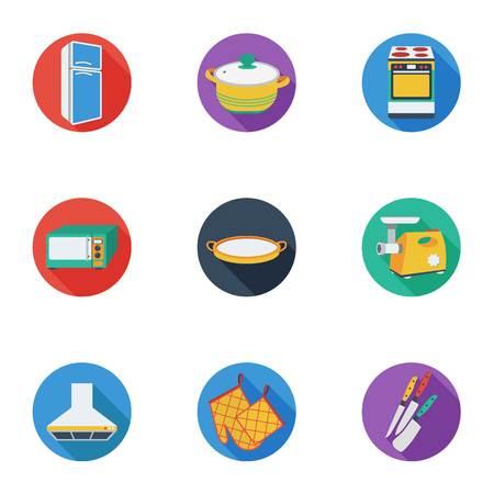 stockpot: Kitchen set icons in cartoon style. Big collection of kitchen symbol stock Illustration