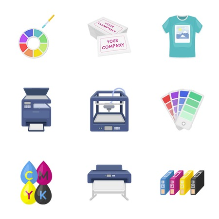 multifunction printer: Typography set icons in cartoon style. Big collection of typography symbol stock Illustration