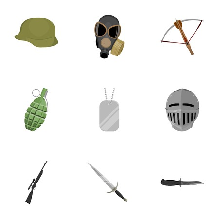 army gas mask: Weapon set icons in cartoon style. Big collection of weapon symbol stock Illustration