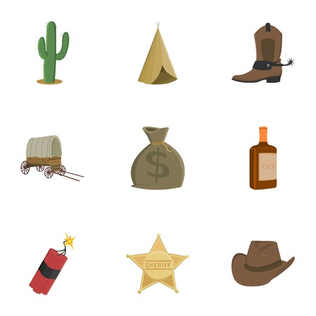 Wild west set icons in cartoon style. Big collection of wild west symbol stock