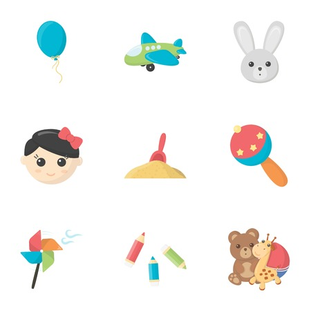 Toys set icons in cartoon style. Big collection of toys symbol stock