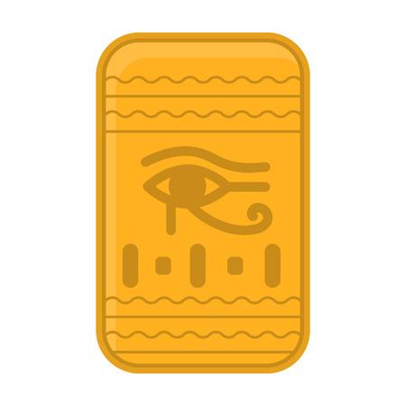 ojo de horus: Ojo de Horus en icono de estilo de dibujos animados aislado en el fondo blanco. Símbolo de la ilustración del vector del antiguo Egipto. Vectores