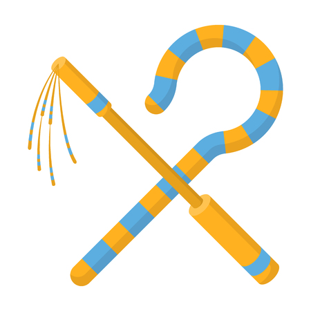 scepter: Crook and flail icon in cartoon style isolated on white background. Ancient Egypt symbol vector illustration.