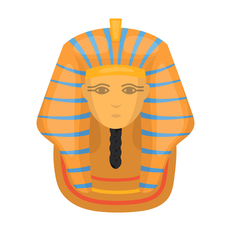 Pharaohs golden mask icon in cartoon style isolated on white background. Ancient Egypt symbol vector illustration.