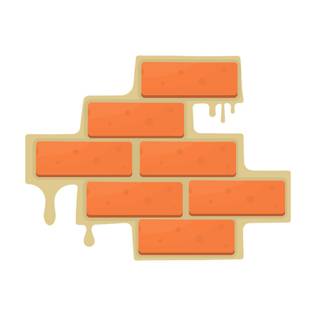 Brick wall icon in cartoon style isolated on white background. Build and repair symbol vector illustration.