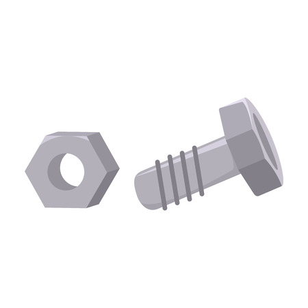 coupling: Structural bolt and hex nut icon in cartoon style isolated on white background. Build and repair symbol vector illustration. Illustration