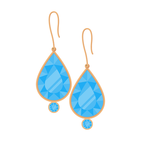earrings: Earrings with gems icon in cartoon style isolated on white background. Jewelry and accessories symbol vector illustration.