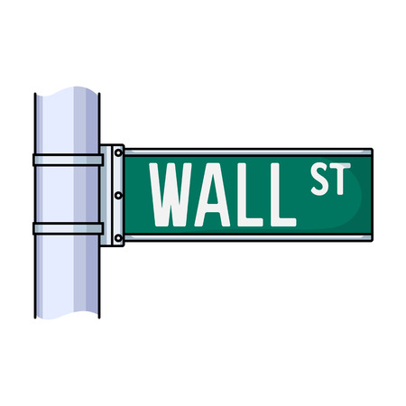 nasdaq: Wall Street sign icon in cartoon style isolated on white background. Money and finance symbol vector illustration. Illustration