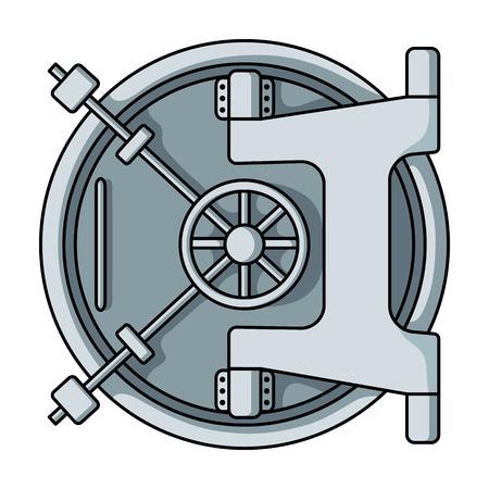 漫画のスタイルの白い背景で隔離の銀行保管庫アイコン。お金と金融のシンボル ベクトル イラスト。