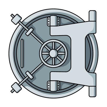 Bank vault icon in cartoon style isolated on white background. Money and finance symbol vector illustration. Vettoriali