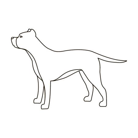 breeds: Pitbull icon in outline style isolated on white background. Dog breeds symbol vector illustration. Illustration